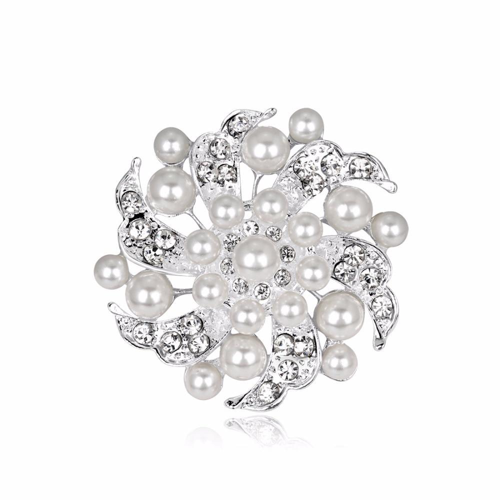 DuoTang Trendy Pearl Flower Classic Multicolour Rhinestone Badges for Women Shirt Collar Enamel Pin Jewelry Christmas Gift