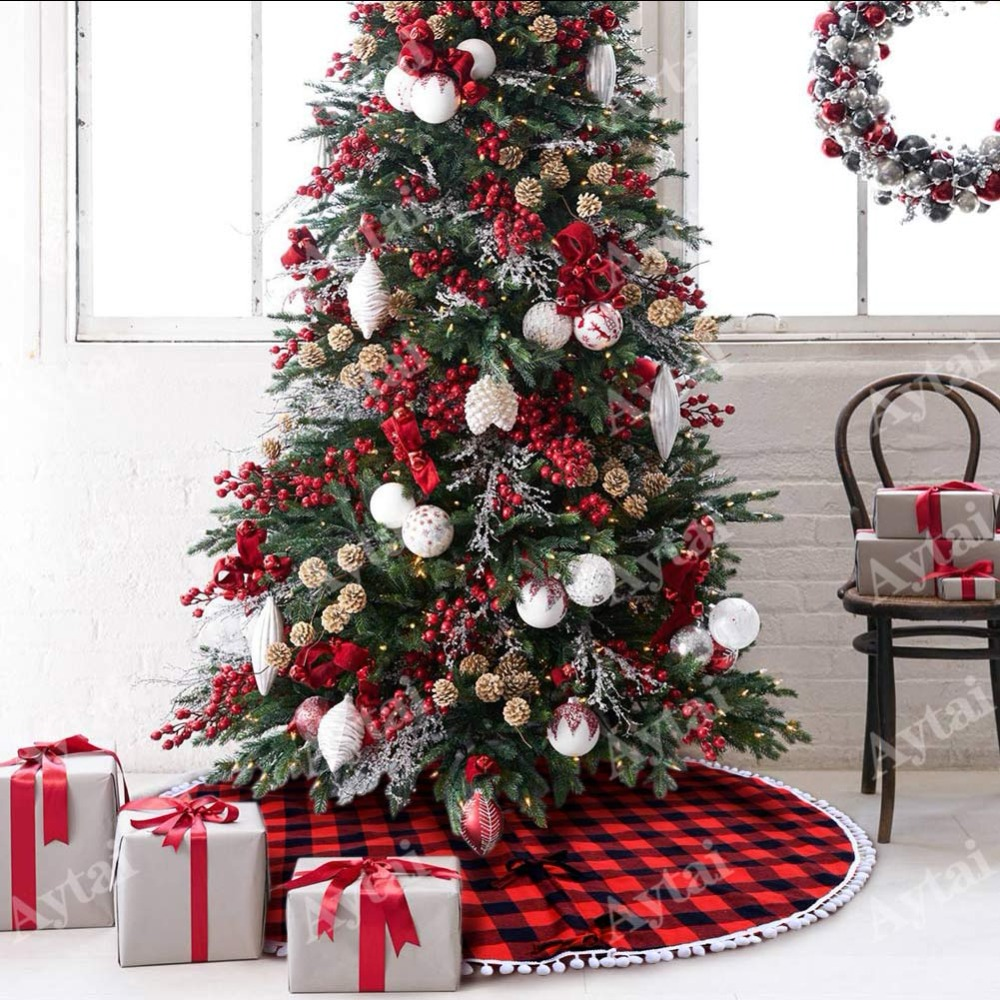 aytai 48 inch plaid christmas tree skirt with red and black double layers fine decorative xmas tree skirt christmas accessories in tree skirts from home - Black Christmas Tree Skirt