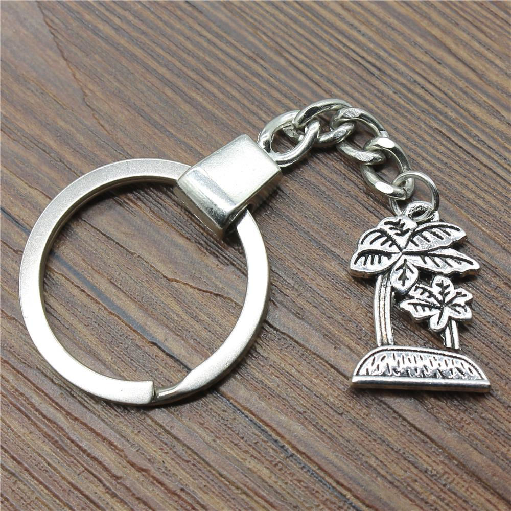 Men Jewelry Key Chain Party Gift Keychains Dropshipping Jewelry 23x16mm Coconut Palm Antique Silver Key Rings
