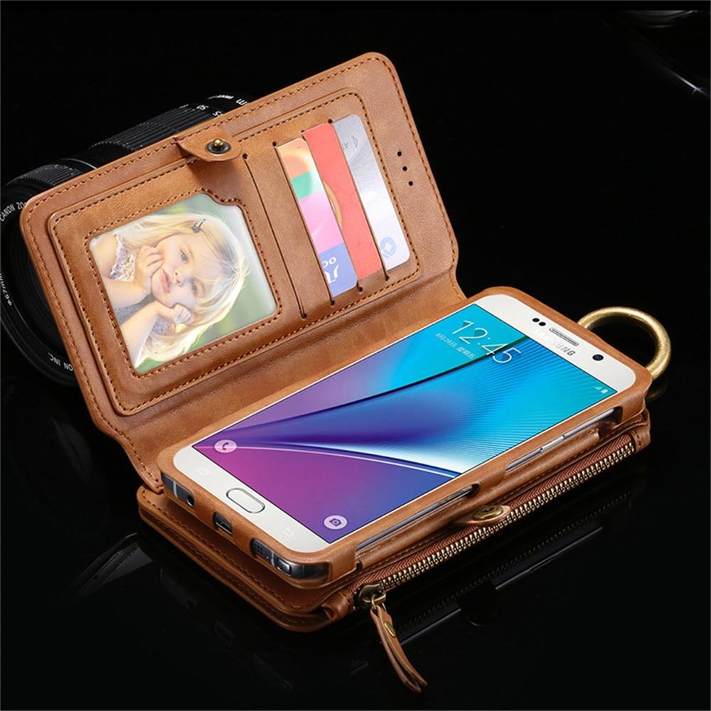 Funda Cartera de cuero para Samsung Galaxy Note 3 4 5 Borde S7 Negocio de la ven