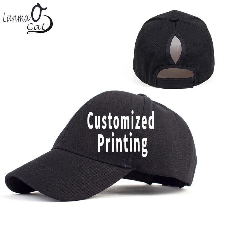 be9dfc4f Lanmaocat Ponytail Baseball Cap Women Customized Print Ponytail Baseball Hat  Female Summer Hats Blank Design Cap