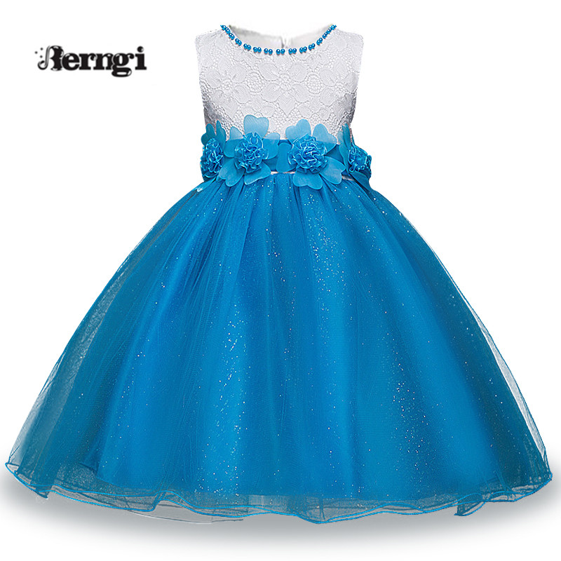 New Brand Girl Lace Dress Sleeveless Blue Color pearl Floral Ball Gown Party Dress Daily Dress For Girl 3-14Yrs Birthday