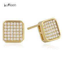 Lureen Micro Pavimenta Cz di Zircon Orecchini con Perno per Le Donne in Oro Piazza Screwback Orecchini Mens Dei Monili Del Regalo(China)