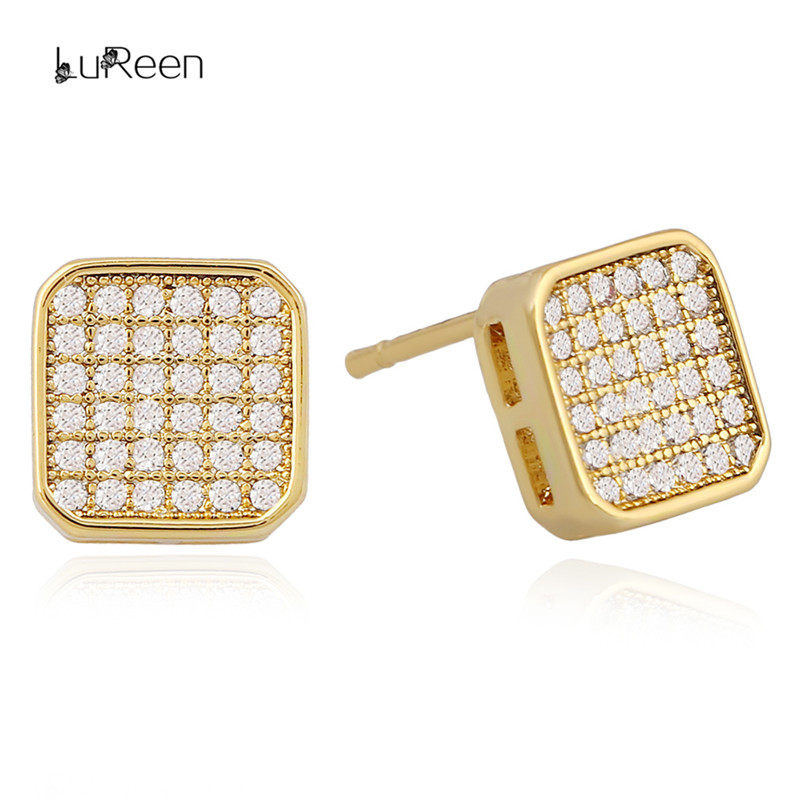 LuReen Hiphop Iced Out Micro Pave Cz Zircon Stud Earrings For Women Bling Gold Square Screwback Earrings Mens Jewelry GiftLE0195