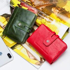 Image 5 - Контакта кошелек для женщин на молнии из натуральной кожи; Короткие женские кошельки высокое качество, Женский кошелек, кнопка застежка кошелек с отделением для кредитных карт держатель