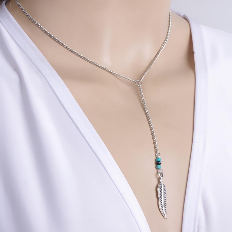 9b3f38698ad3a جديد الأزياء خمر اليدوية الخرز حجر ريشة شرابة قلادة قلادة بيان مجوهرات  للنساء إكسسوارات جذابة