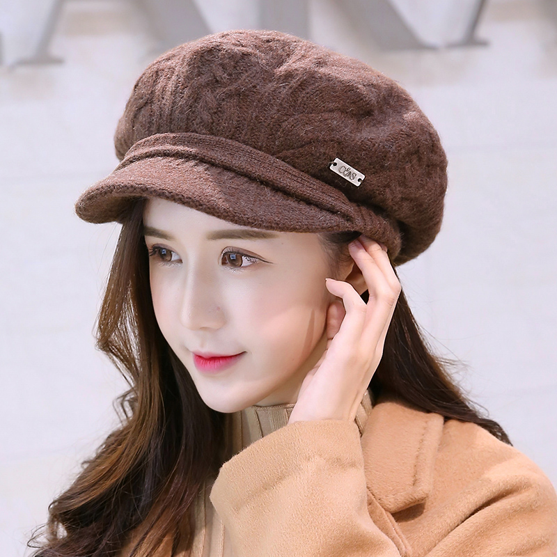 Elegant Womens Winter Rabbit Fur Hat Female Fall Knitted Hats For Woman Cap Autumn And Winter Ladies Fashion Beanies new elegant women hat winter fall skullies beanies warm knitted hats for lady girl hats soft rabbit fur cap gorras female yil12