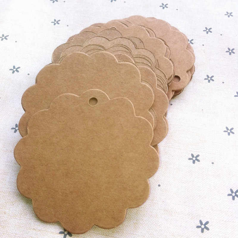 100PCS 6CM Round Scalloped Kraft Paper Card Gift Tag Circle Disc Tags Decor Gift Tags Laser Cut Craft Paper Card Blank Label