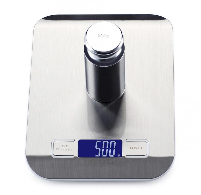 Цифровые кухонные весы с платформой из нержавеющей стали, 10 кг/5 кг, 5000 г, измерительный инструмент для диеты, баланса веса, ЖК-дисплей с подсветкой-1