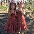 KAMIMI nuevo verano vestidos de las muchachas 2-5Y estilo bohemio vestido del tutú del cordón sin mangas de la princesa del algodón muchachas del vestido ropa A369