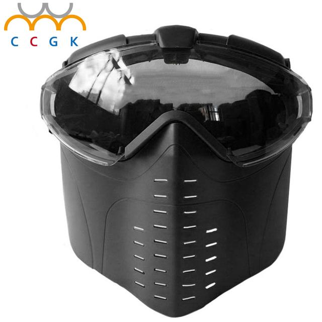 Anti-Fog Máscaras Tático Rosto Cheio Máscaras de Gás Do Ventilador Elétrico Ventilado Com Óculos de Proteção Ao Ar Livre jogo de Guerra CS Caça Paintball Airsoft