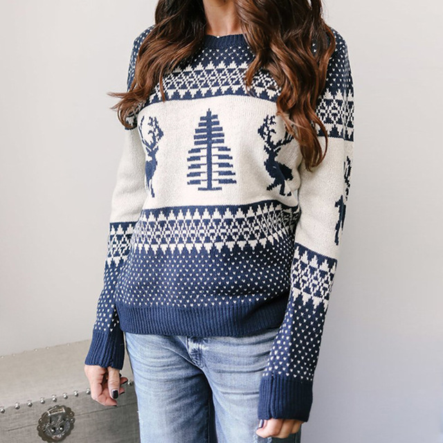 woman sweater winter autumn casual o-neck long sleeve knit female sweater cute Christmas cartoon pullover