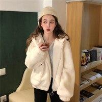 2019 spring women's new Korean version of the loose plush sweater hooded cardigan jacket short jacket lamb fur coat female l45