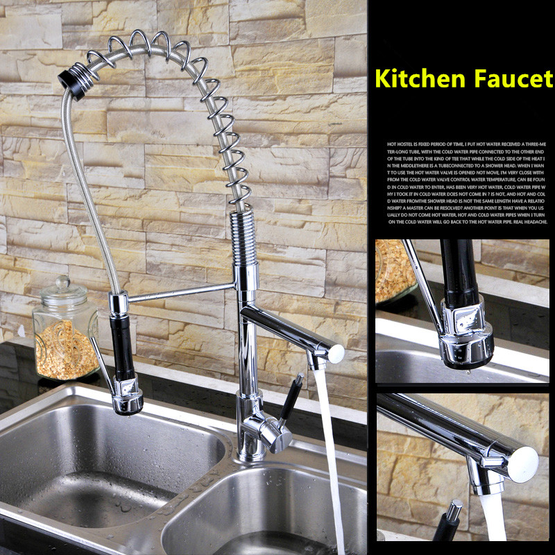 2016 New Various Style Solid Brass Chrome Finished Pull Out & Down Sink Kitchen Faucet 2 Functions Mixer Tap Spring Faucet good quality wholesale and retail chrome finished pull out spring kitchen faucet swivel spout vessel sink mixer tap lk 9907