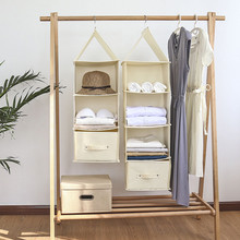 Multi-layer storage hanging bag Wardrobe drawer type organizer box New cotton and linen Fold-able clothes
