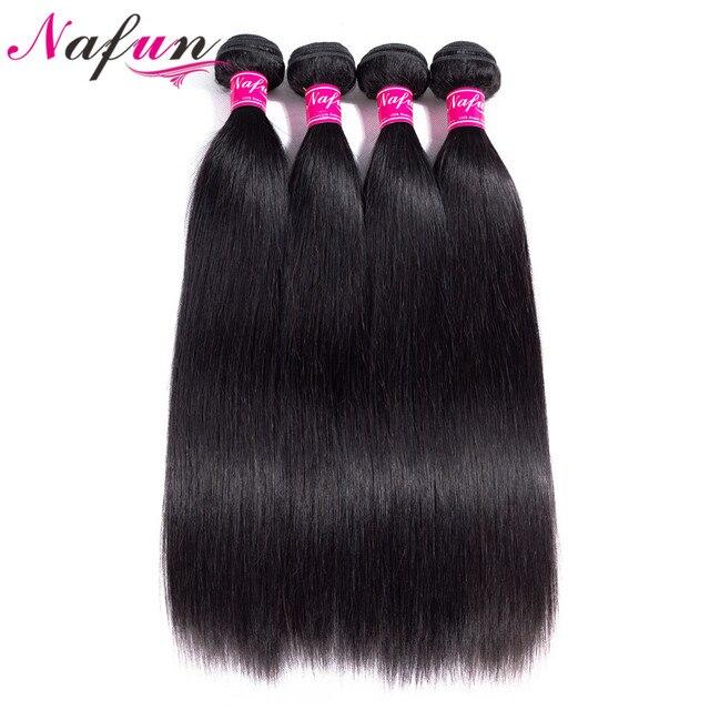 Pelo brasileño NAFUN pelo lacio 8-26 pulgadas 100% cabello humano no Remy paquetes doble trama Color Natural cabello teje extensiones