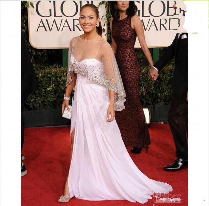2019 New evening Dresses Inspired Celebrity Dresses Spaghetti With Sheer Crystal Wrap Side Slit Chiffon Floor Length Dresses