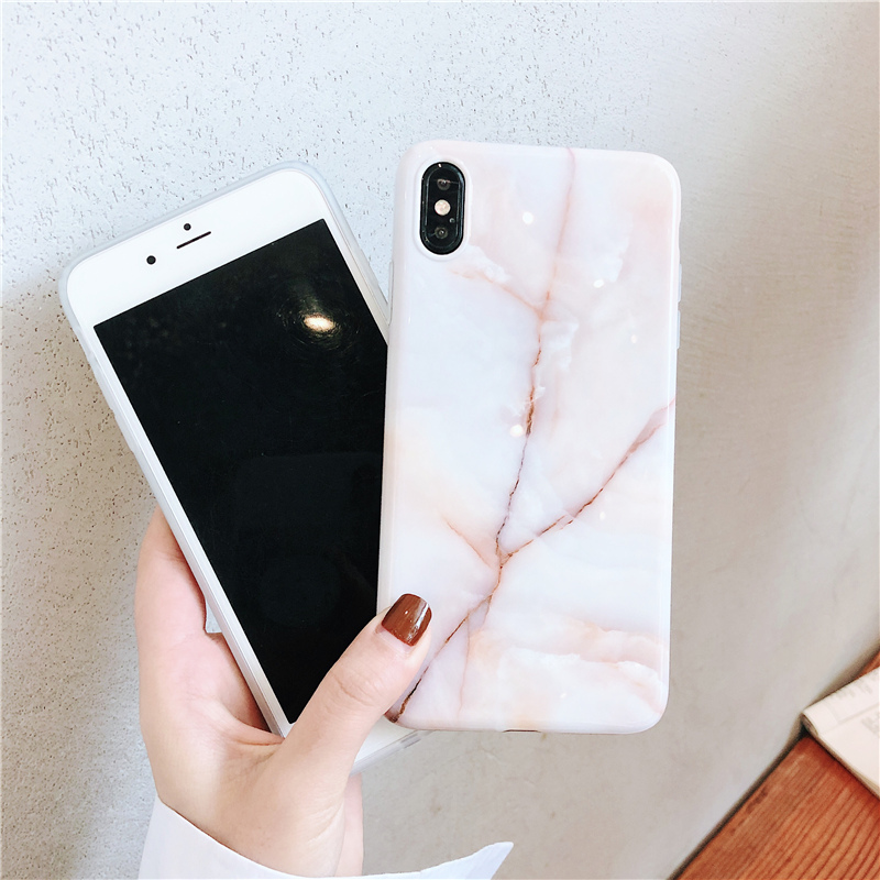 Glossy marble case on for coque iphone 8 7 xs max case soft luxury granite printing stone cover for iphone 8 7 6 6s plus x xr xs in Fitted Cases from Cellphones Telecommunications