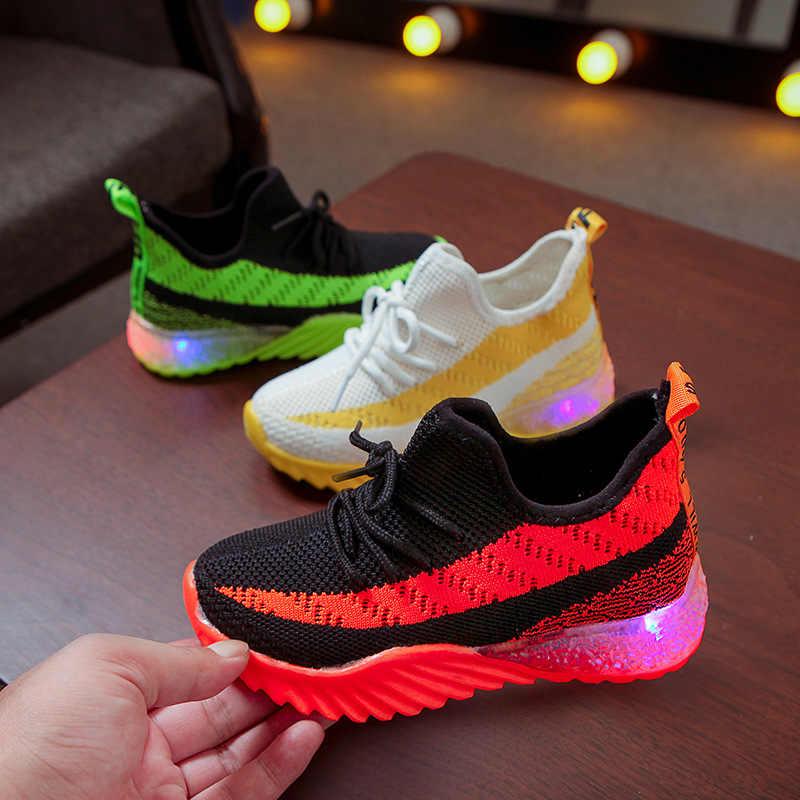 ילדים 2019 סתיו קיץ LED אור נעלי ריצה נעלי בנים ובנות לנשימה דגים בקנה מידה ספורט נעלי קוקוס סניקרס SH19063