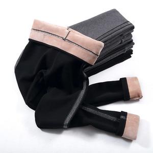 Image 2 - Baumwolle Samt Leggings Frauen 2020 Winter Sexy Side Stripes Sporting Fitness Leggings Hosen Warme Starke Leggings Hohe Qualität