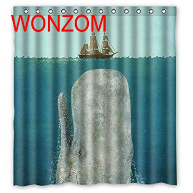 WONZOM 3D Boat Whale Shower Curtains With 12 Hooks For Bathroom Decor Modern Bath Waterproof Curtain Accessories