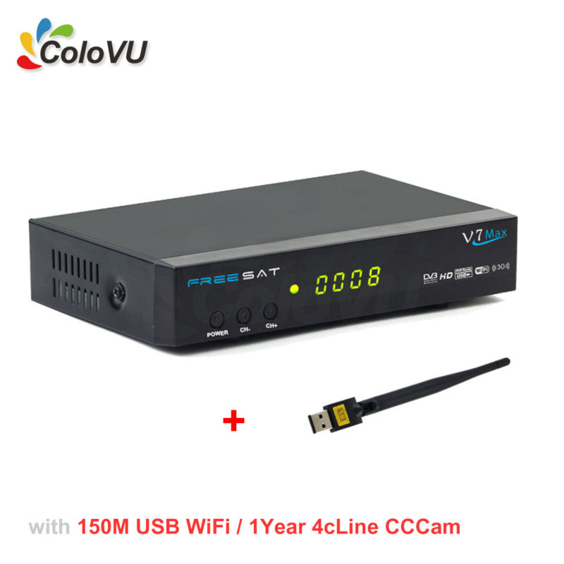 Satellite Receiver Freesat V7 Max DVB-S/S2 + USB WiFi + 1Year 4cLine Europe CCCam Account support Biss cccam newcamd Powervu