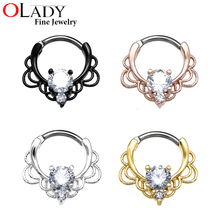 Nose septum ring 16G Titanium clicker Nose rings Piercing Jewelry Nose Hoop rings nose earrings