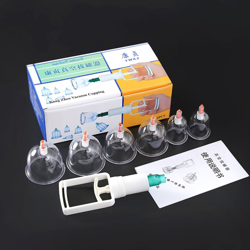 1Set* 6 Pcs Massage Vacuum Cupping Set Thicker Magnetic Aspirating Cupping Cans Cupuncture Massage Suction Cup With Tube Gift