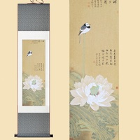 Chinese Silk Watercolor Ink flower and bird White Lotus Bulbul feng shui art wall picture damask framed scroll canvas painting