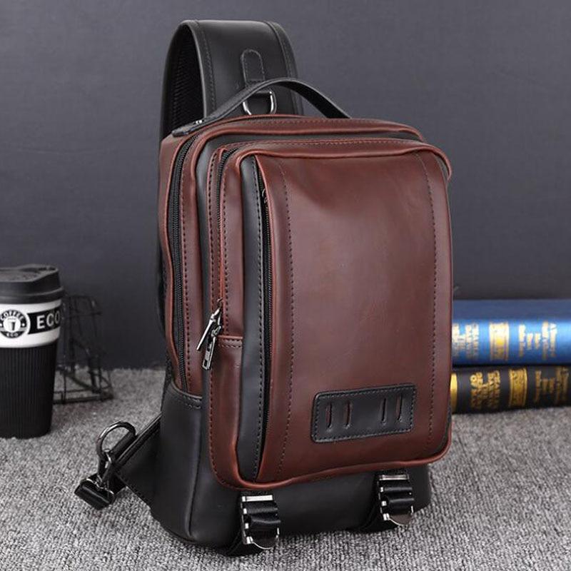 Retro Men's Shoulder Bag Large Capacity Handbag Men Crossbody Bag Casual PU Leather Men Messenger for Men Sling Chest Bag kaka large capacity chest bag for men