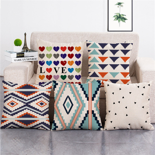 wholesale wedding gift pillow cover Spanish heart shaped triangle plus diamond party decorative cushion cover sofa pillow case