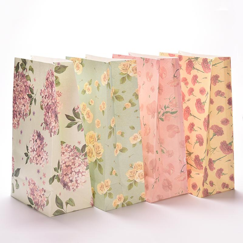 3pcs Flower Print Kraft Paper Small Gift Bags Sandwich Bread Food Party Wedding Favour Supplies 23x13cm