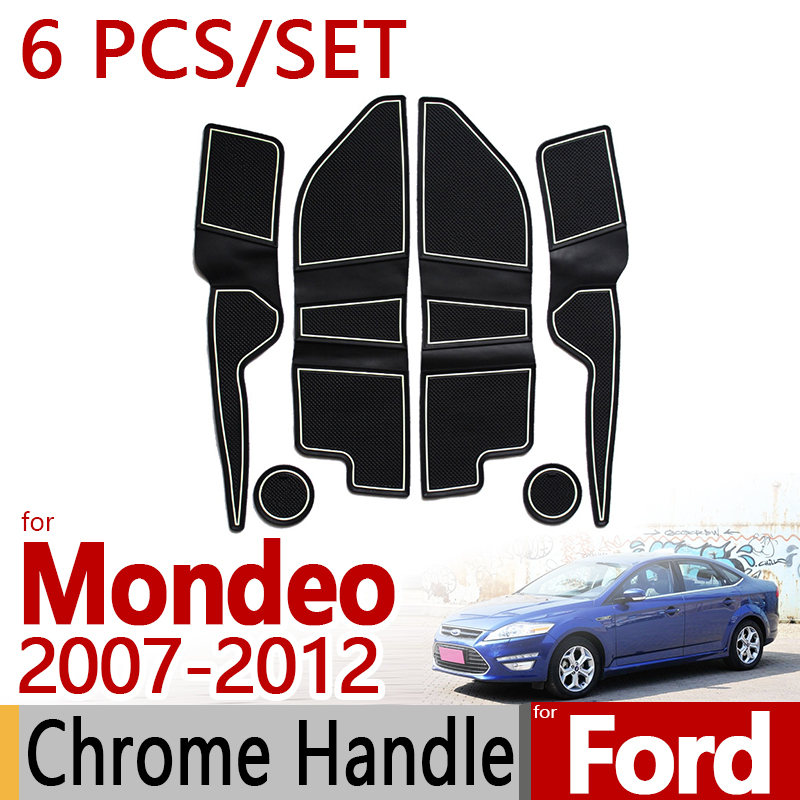 for Ford Mondeo 2007 2012 Anti Slip Rubber Cup Cushion Door Mat 6pcs/set 2008 2010 2011 Accessories Car Styling Sticker