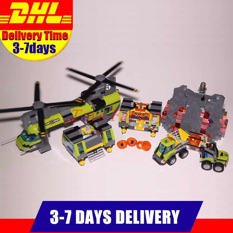 DHL IN-STOCK Clone 60125 LEPIN 02087 1430 PCS City Series The Volcano Heavy-Lift Helicopter Set Building Block Bricks Toys Gifts dhl lepin 02038 1767pcs city series the city square education building blocks bricks toys compatible 60097 in stock