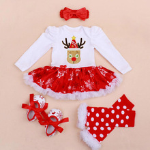 4PCs per Sets Infant Girl Clothes Red Baby Girls Snowflake Printed Deer Santa Ho Ho Ho Christmas Dress Shoes Leggings Headband