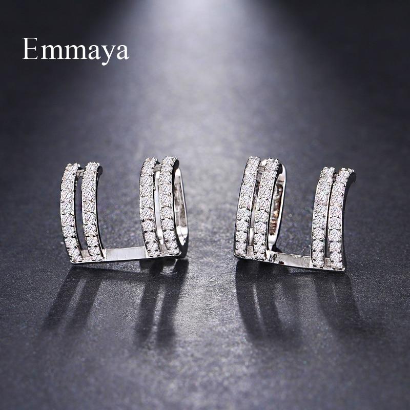 Emmaya Brand Fashion Simple Originality AAA Cubic Zircon Unique Irregularity Earrings for Women Wedding Travel Jewelry Gift