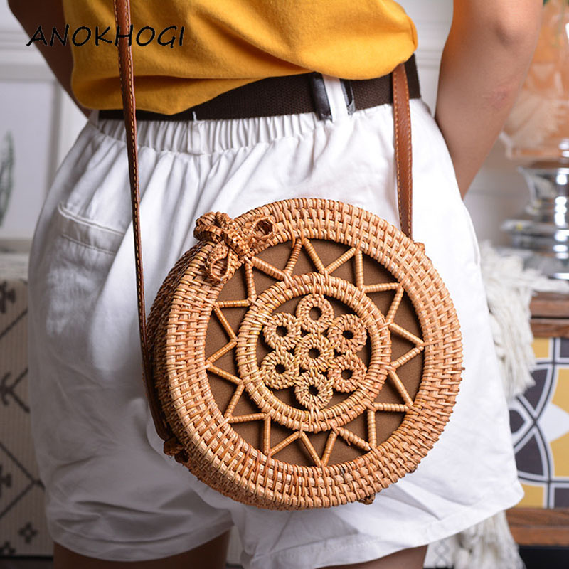 Holiday Summer Vintage Handmade Rattan Bags Straw Woven Ladies Stars Hollow Bow Shoulder Bag Weaving Beach Handbags B429
