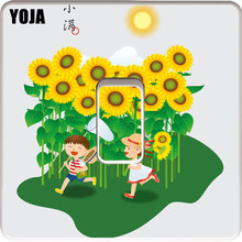 YOJA Cartoon Chinese Festival Sunflower With Children PVC Switch Sticker Childish European Style Decorative Wall Decal 15SS0085(China)