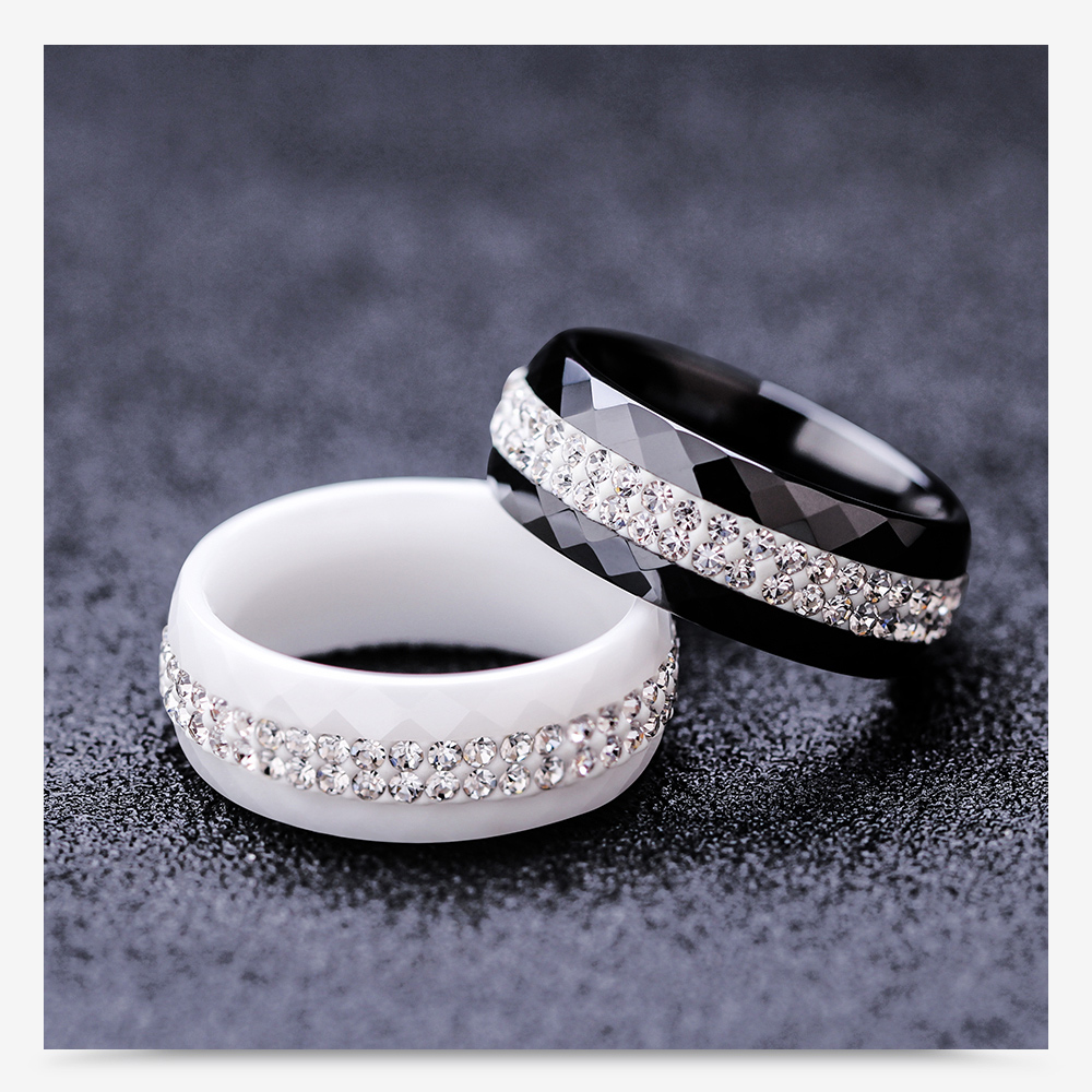 High Quality Black And White Simple Style Simply Crystal Ceramic Rings for Women 6