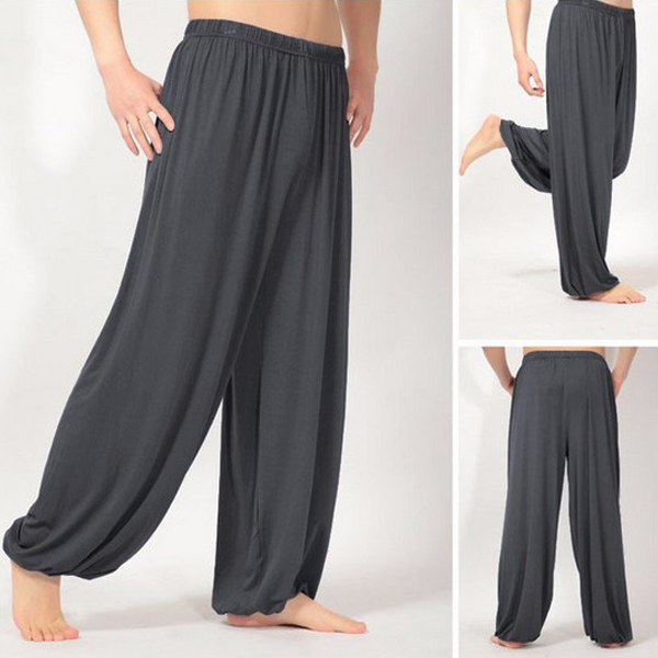 Men Super Soft Yoga Pilates Pants Loose Casual Harem Solid Color Lounge Pants FDC99