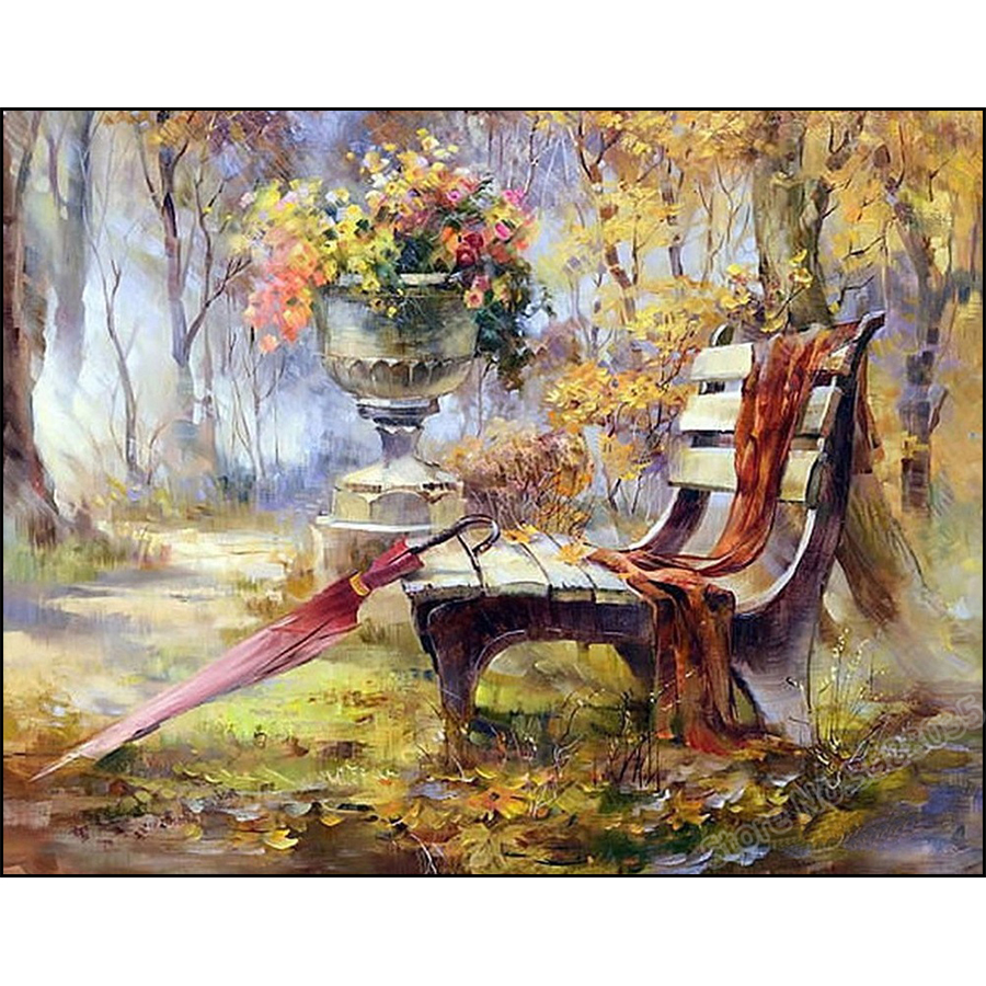 Full Round/Square Drill 5D DIY Diamond Painting Bench and Umbrella Flower Picture Diamond Embroidery Cross Stitch Crystal MosaicFull Round/Square Drill 5D DIY Diamond Painting Bench and Umbrella Flower Picture Diamond Embroidery Cross Stitch Crystal Mosaic
