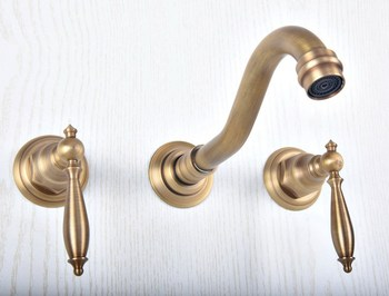 Antique Brass Widespread Wall-Mounted Tub 3 Holes Dual Handles Kitchen Bathroom Tub Sink Basin Faucet Mixer Tap asf511