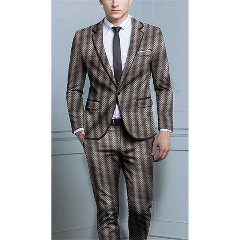 2018 (jacket+Pants) Fashion Costume Homme Men's Suit Luxury Men Stage Clothing Vintage Mens Suits Wedding Groom Terno Masculino