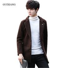 2017 new arrival style men boutique woolen overcoat business casual suit collar men's solid slim warm trench coat size M-3XL
