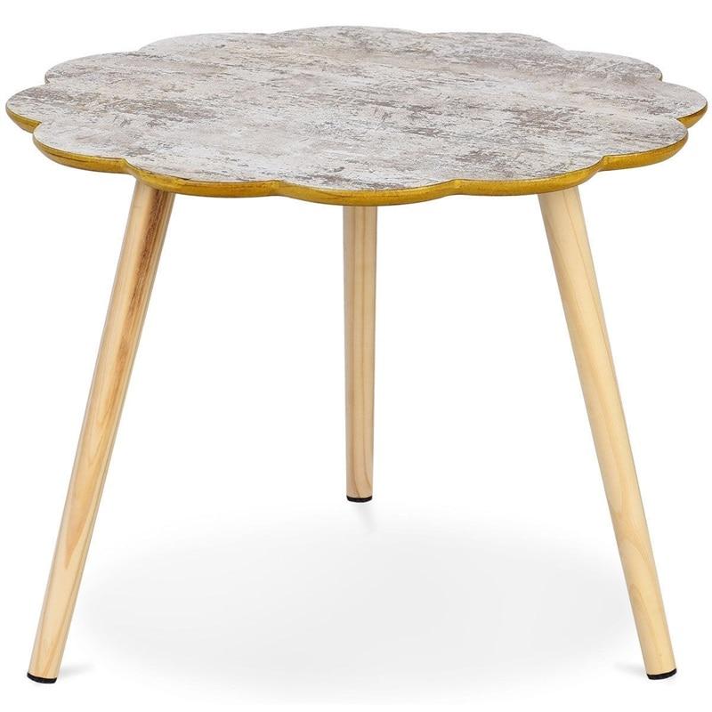Salon en forme de fleur canapé côté Table basse MDF bureau bois jambes Tables meubles de salon HW59262