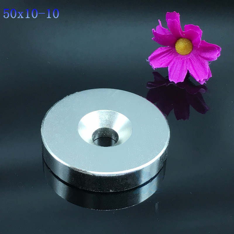 1pc 50*10 hole 10mm N35 Neodymiu magnet 50x10 hole 10 mm strong Disc Nd-Fe-B Neodymium Magnet Art Craft Connection free shipping