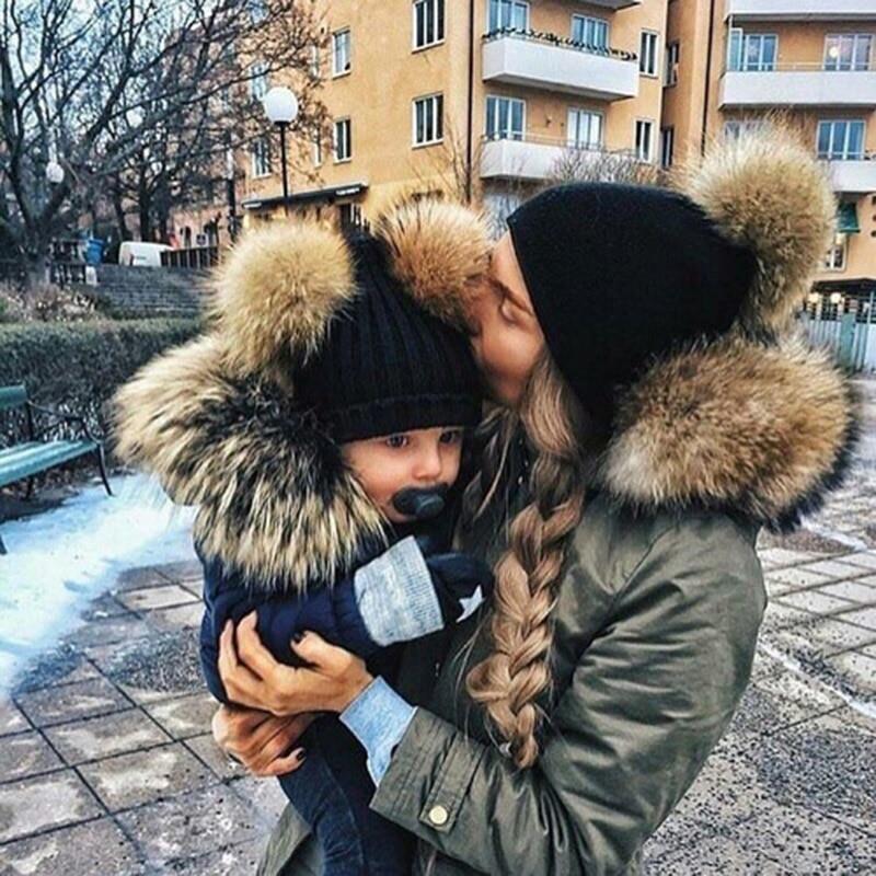 DARCHROW Cute Winter Mom Women Baby Kids Crochet Knitted Hat Caps Children Girl Boy Wool Fur Bobble Ball Pompom Beanies Hats