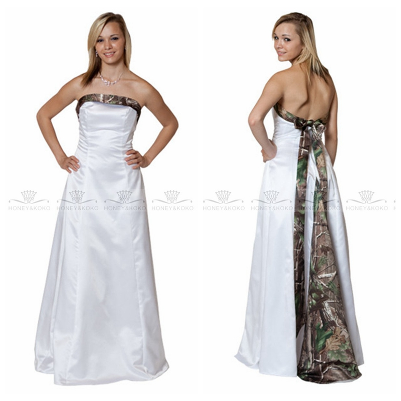 Weddings & Events Symbol Of The Brand 2019 Simple White A-line Wedding Dress White Satin Bridal Gown With Camo Floor-length Vestidos De Mariee Country Plus Size Year-End Bargain Sale