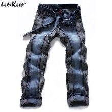 2017 мужские Harajuku в полоску джинсы Повседневная Байкер тонкий прямой Штаны мужчины синий дизайнер сращивания джинсы 40 42 44 большие размеры, MA088