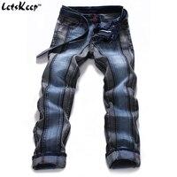 2016 New Fashion Dark Blue Straight Jeans Casual Biker Joggers Slim Hip Hop Pants Men Designer